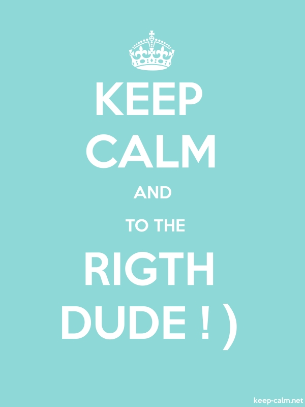 KEEP CALM AND  TO THE RIGTH DUDE ! - white/lightblue - Default (600x800)