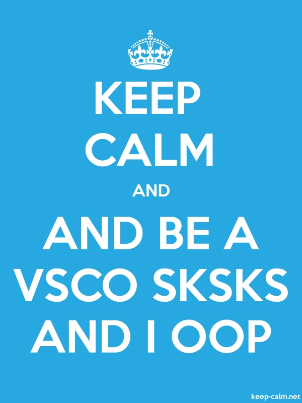 KEEP CALM AND AND BE A VSCO SKSKS AND I OOP - white/blue - Default (600x800)