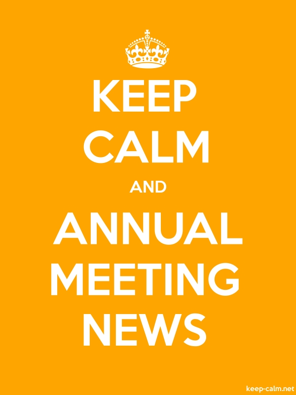 KEEP CALM AND ANNUAL MEETING NEWS - white/orange - Default (600x800)