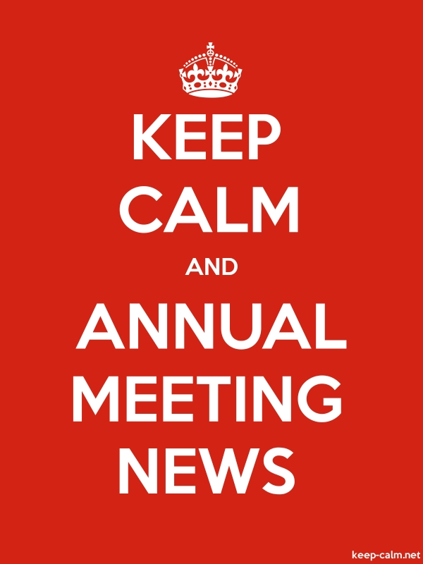 KEEP CALM AND ANNUAL MEETING NEWS - white/red - Default (600x800)