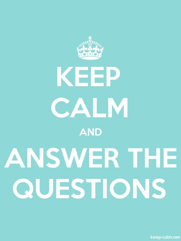 KEEP CALM AND ANSWER THE QUESTIONS - white/lightblue - Default (600x800)