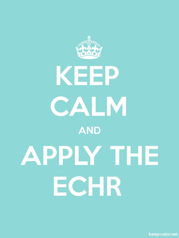 KEEP CALM AND APPLY THE ECHR - white/lightblue - Default (600x800)