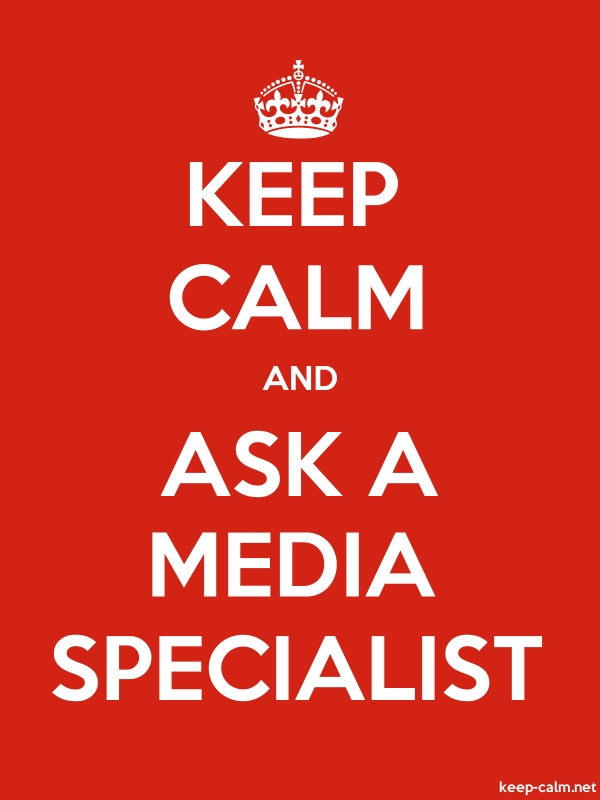 KEEP CALM AND ASK A MEDIA SPECIALIST - white/red - Default (600x800)