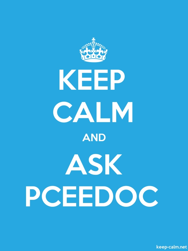 KEEP CALM AND ASK PCEEDOC - white/blue - Default (600x800)