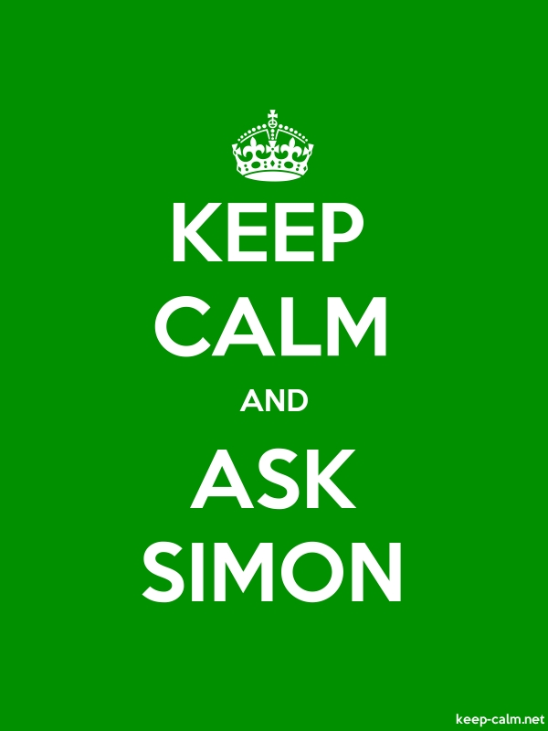 KEEP CALM AND ASK SIMON - white/green - Default (600x800)