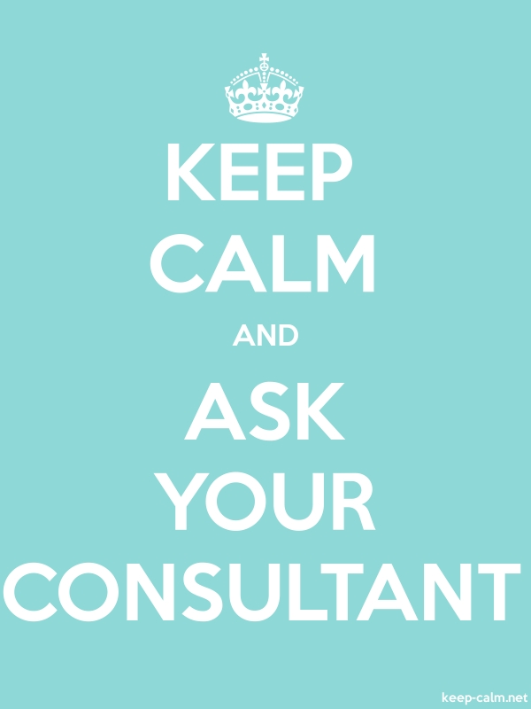 KEEP CALM AND ASK YOUR CONSULTANT - white/lightblue - Default (600x800)