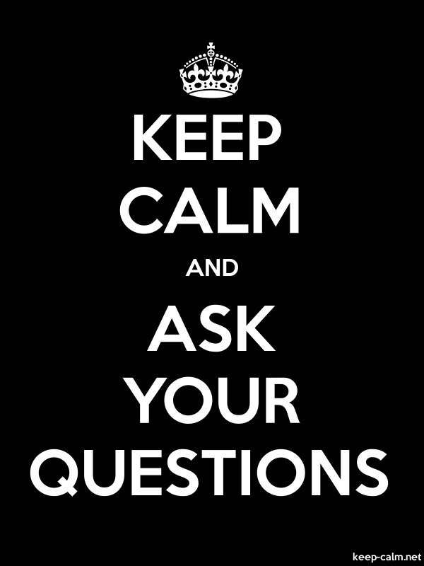 KEEP CALM AND ASK YOUR QUESTIONS - white/black - Default (600x800)