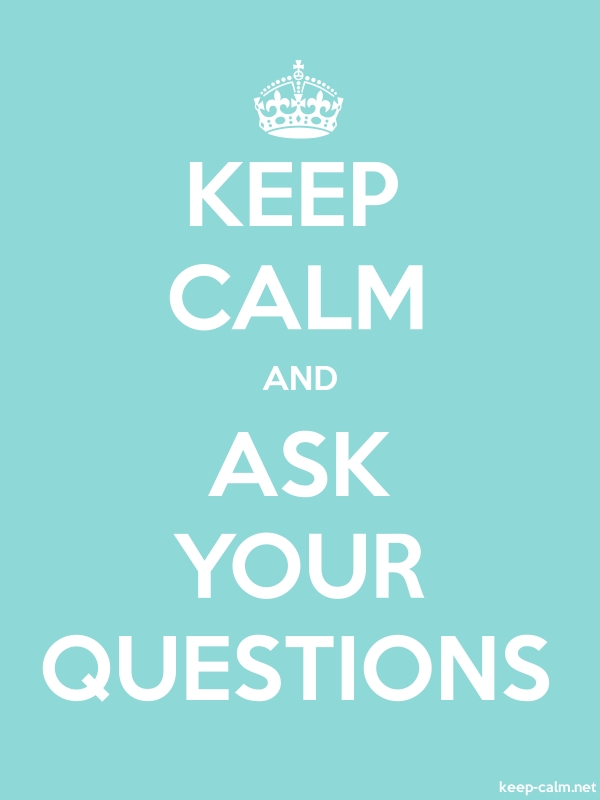 KEEP CALM AND ASK YOUR QUESTIONS - white/lightblue - Default (600x800)