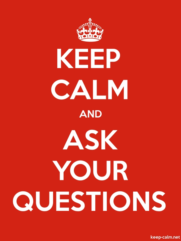 KEEP CALM AND ASK YOUR QUESTIONS - white/red - Default (600x800)