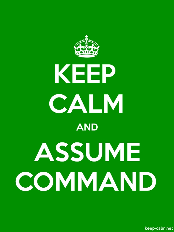 KEEP CALM AND ASSUME COMMAND - white/green - Default (600x800)