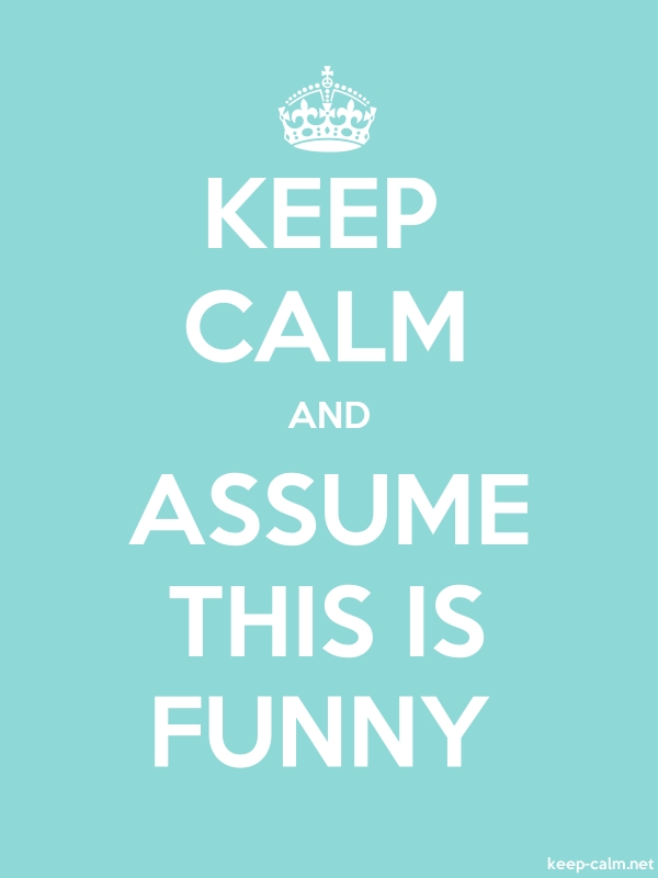 KEEP CALM AND ASSUME THIS IS FUNNY - white/lightblue - Default (600x800)