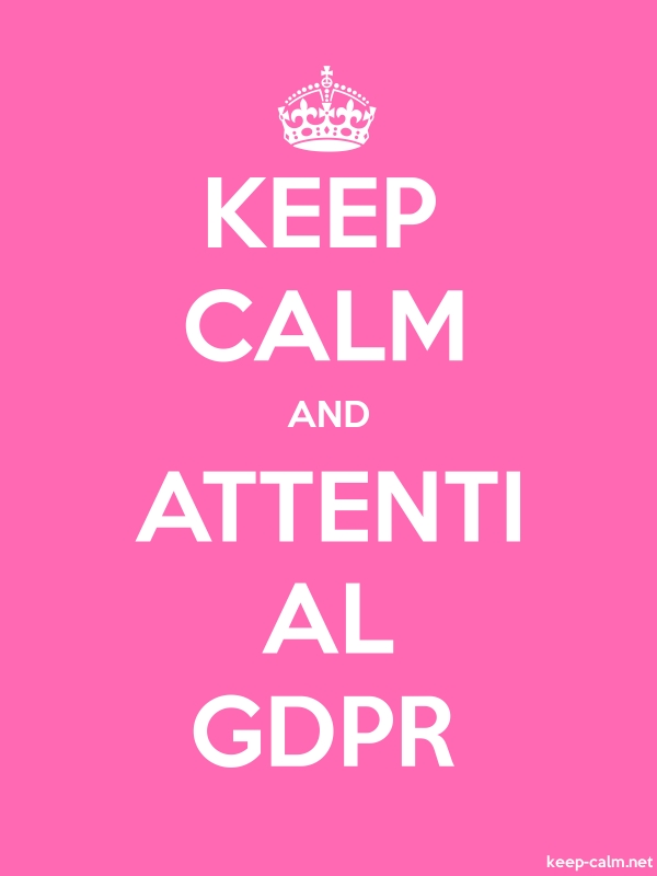 KEEP CALM AND ATTENTI AL GDPR - white/pink - Default (600x800)
