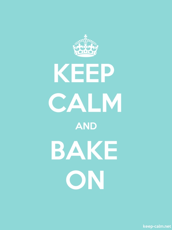 KEEP CALM AND BAKE ON - white/lightblue - Default (600x800)