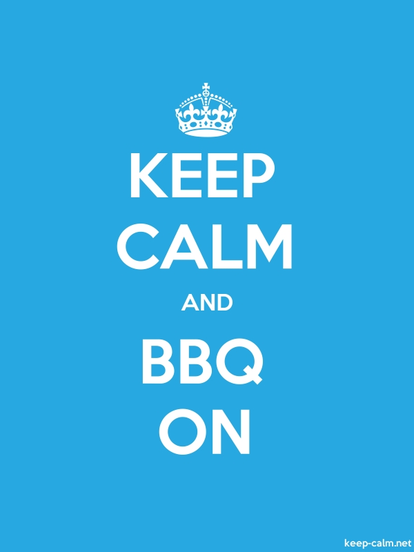 KEEP CALM AND BBQ ON - white/blue - Default (600x800)