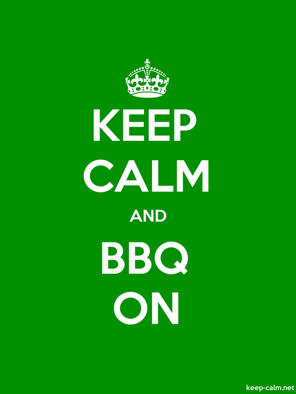 KEEP CALM AND BBQ ON - white/green - Default (600x800)