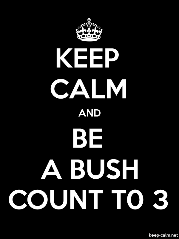 KEEP CALM AND BE A BUSH COUNT T0 3 - white/black - Default (600x800)