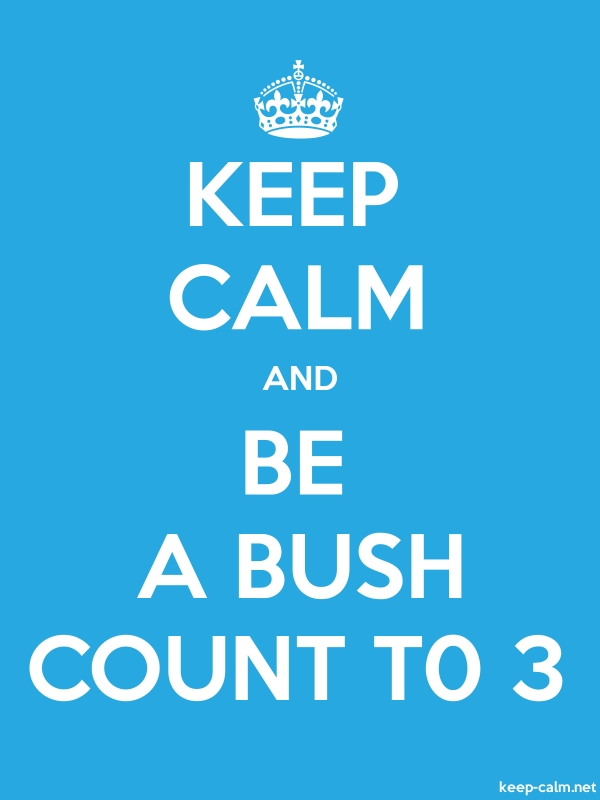KEEP CALM AND BE A BUSH COUNT T0 3 - white/blue - Default (600x800)