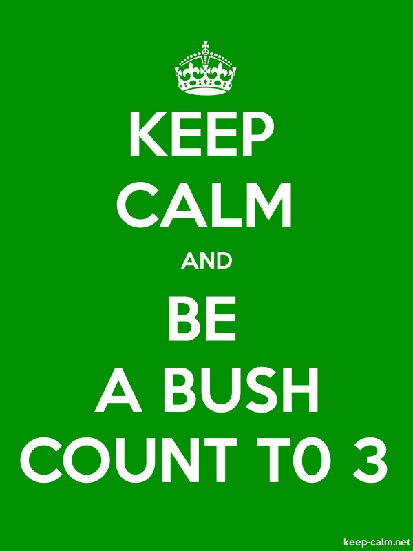 KEEP CALM AND BE A BUSH COUNT T0 3 - white/green - Default (600x800)