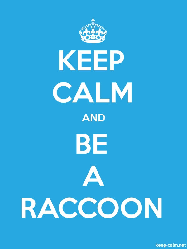 KEEP CALM AND BE A RACCOON - white/blue - Default (600x800)