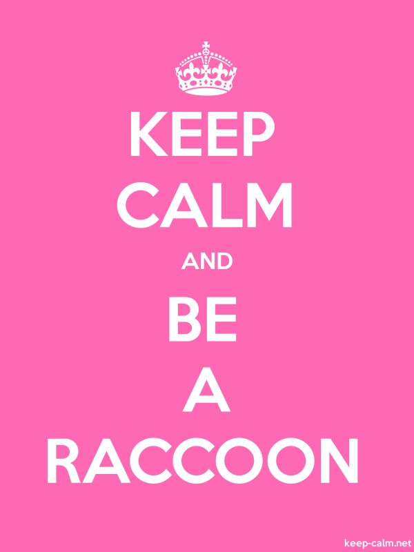 KEEP CALM AND BE A RACCOON - white/pink - Default (600x800)