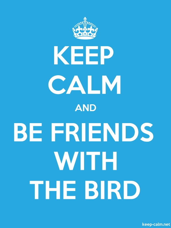 KEEP CALM AND BE FRIENDS WITH THE BIRD - white/blue - Default (600x800)