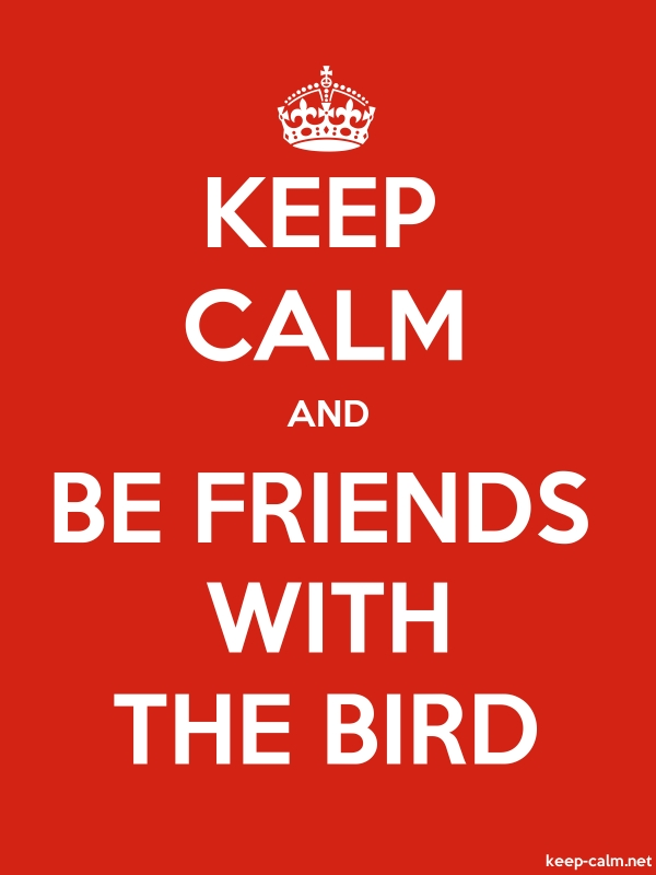 KEEP CALM AND BE FRIENDS WITH THE BIRD - white/red - Default (600x800)