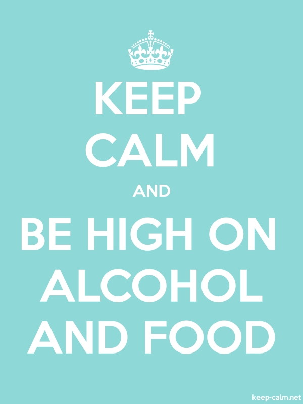 KEEP CALM AND BE HIGH ON ALCOHOL AND FOOD - white/lightblue - Default (600x800)