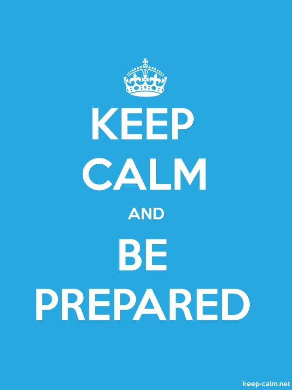 KEEP CALM AND BE PREPARED - white/blue - Default (600x800)