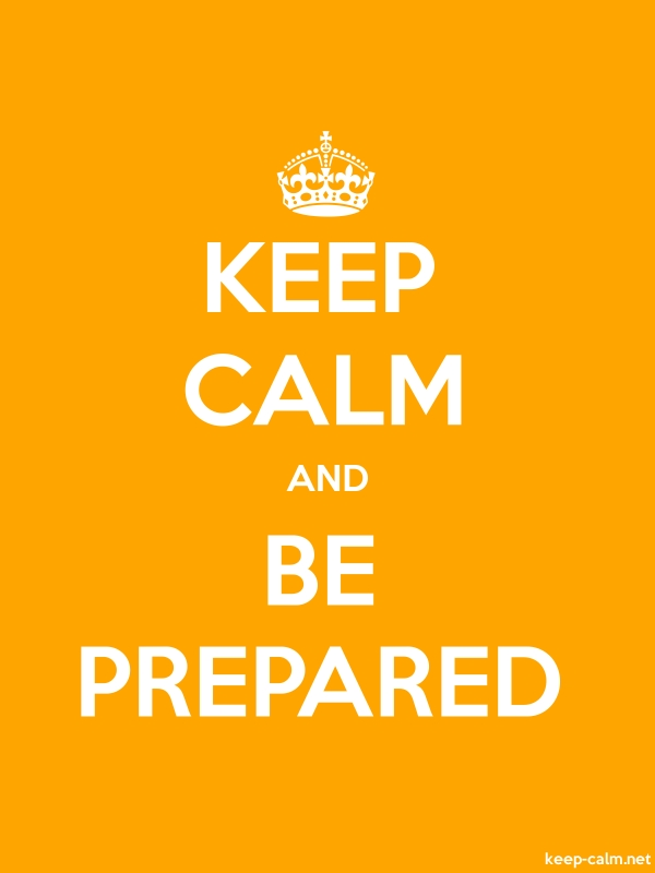 KEEP CALM AND BE PREPARED - white/orange - Default (600x800)
