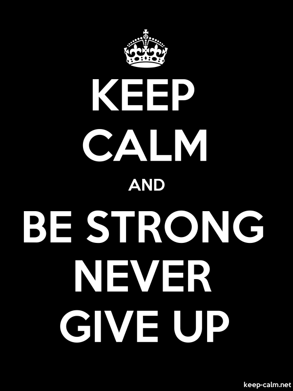 KEEP CALM AND BE STRONG NEVER GIVE UP - white/black - Default (600x800)