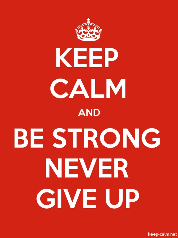 KEEP CALM AND BE STRONG NEVER GIVE UP - white/red - Default (600x800)