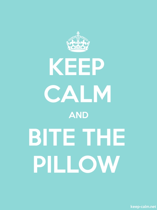 KEEP CALM AND BITE THE PILLOW - white/lightblue - Default (600x800)