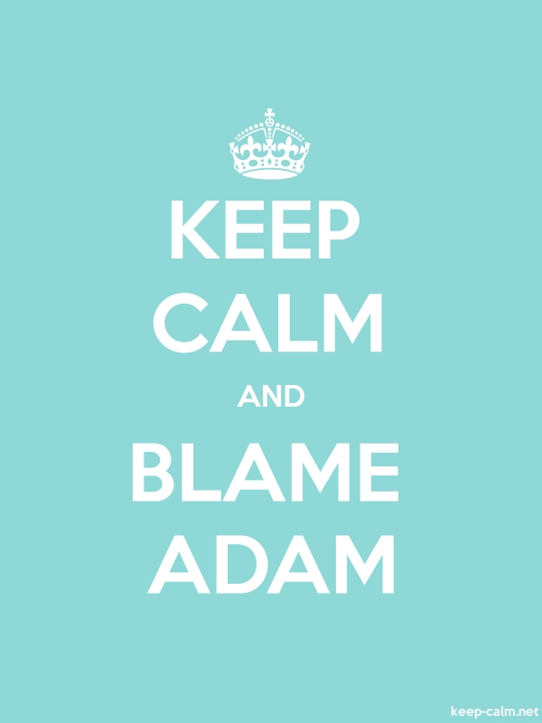 KEEP CALM AND BLAME ADAM - white/lightblue - Default (600x800)