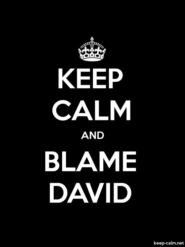 KEEP CALM AND BLAME DAVID - white/black - Default (600x800)