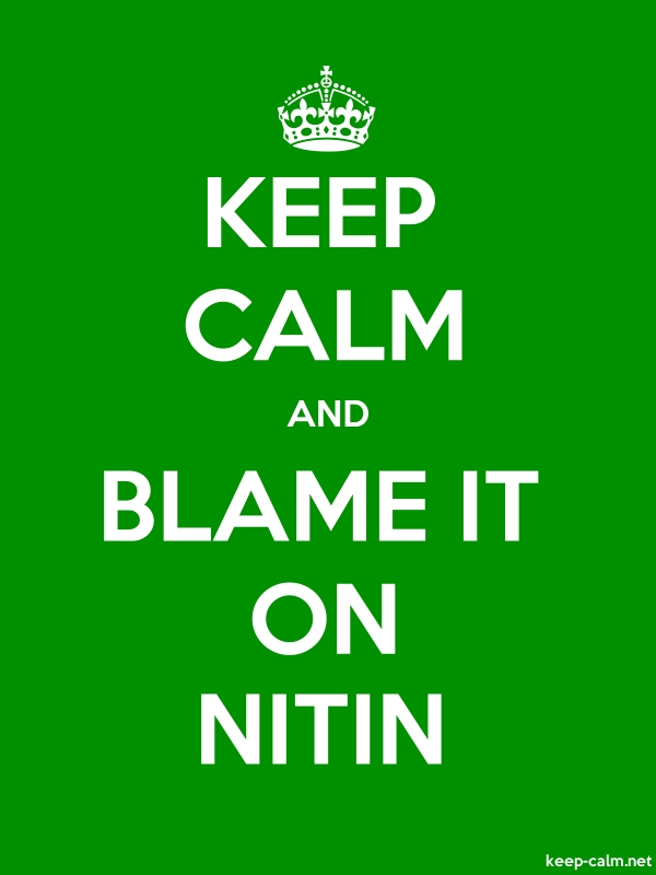 KEEP CALM AND BLAME IT ON NITIN - white/green - Default (600x800)