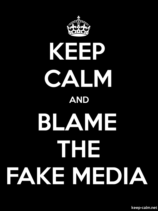 KEEP CALM AND BLAME THE FAKE MEDIA - white/black - Default (600x800)