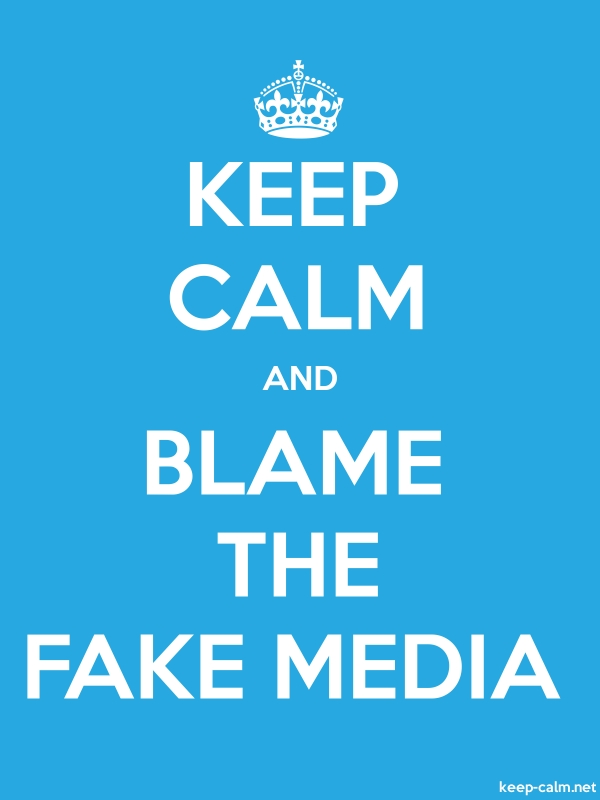KEEP CALM AND BLAME THE FAKE MEDIA - white/blue - Default (600x800)