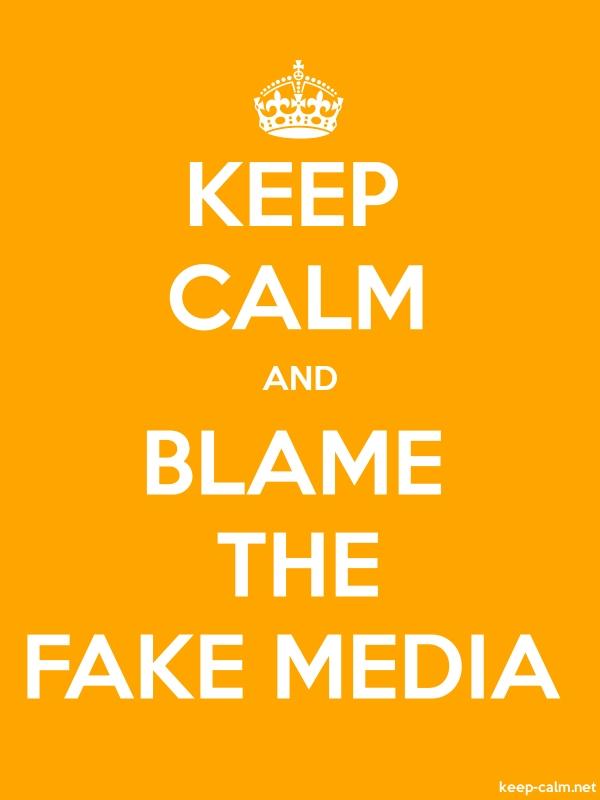 KEEP CALM AND BLAME THE FAKE MEDIA - white/orange - Default (600x800)