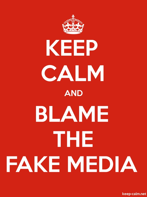 KEEP CALM AND BLAME THE FAKE MEDIA - white/red - Default (600x800)