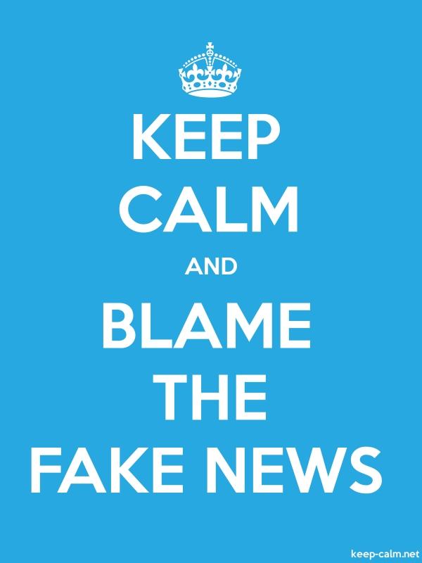 KEEP CALM AND BLAME THE FAKE NEWS - white/blue - Default (600x800)