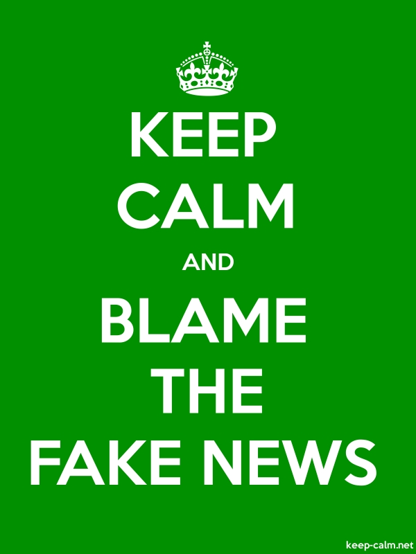 KEEP CALM AND BLAME THE FAKE NEWS - white/green - Default (600x800)