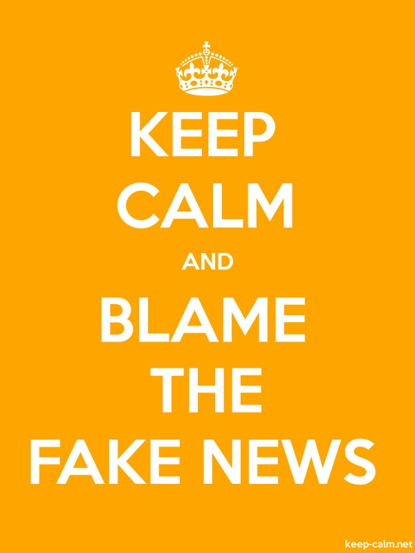 KEEP CALM AND BLAME THE FAKE NEWS - white/orange - Default (600x800)