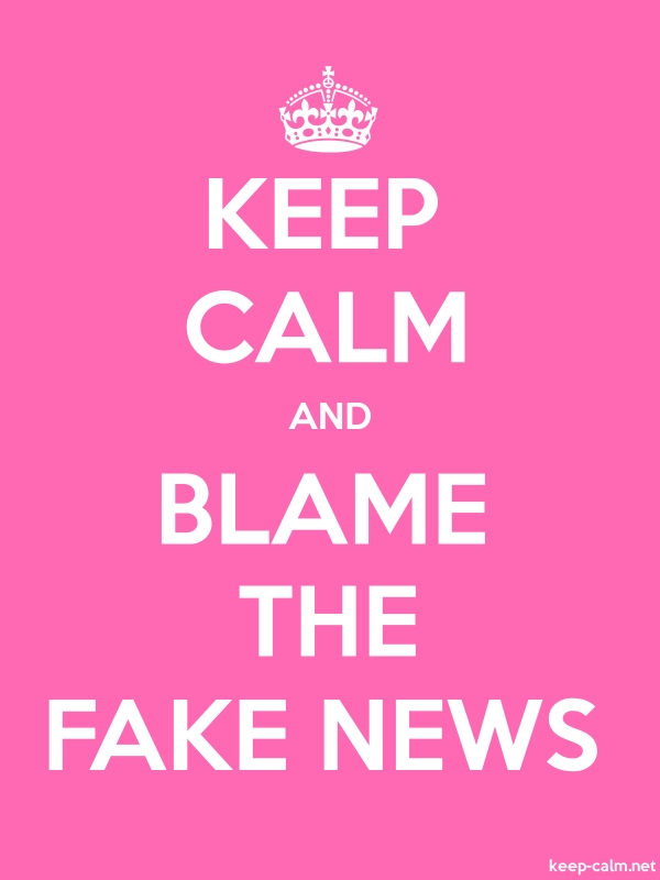 KEEP CALM AND BLAME THE FAKE NEWS - white/pink - Default (600x800)