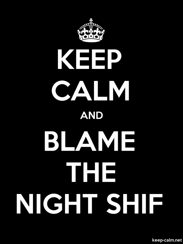 KEEP CALM AND BLAME THE NIGHT SHIF - white/black - Default (600x800)