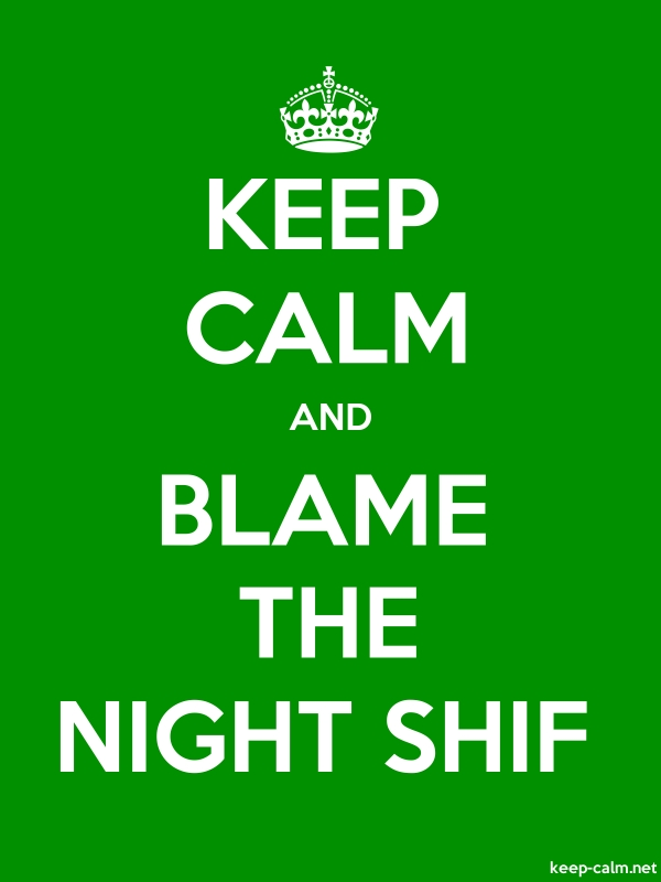 KEEP CALM AND BLAME THE NIGHT SHIF - white/green - Default (600x800)
