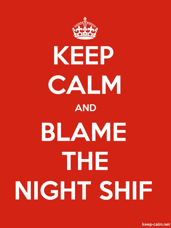 KEEP CALM AND BLAME THE NIGHT SHIF - white/red - Default (600x800)