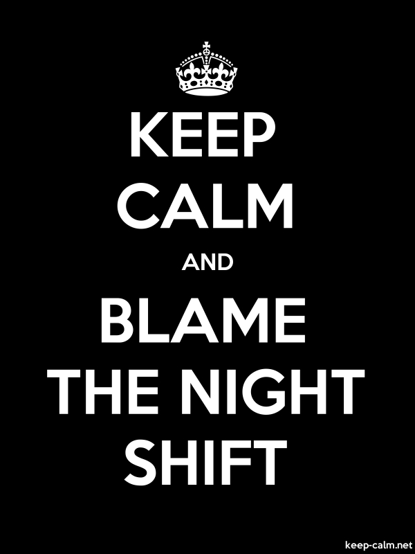 KEEP CALM AND BLAME THE NIGHT SHIFT - white/black - Default (600x800)