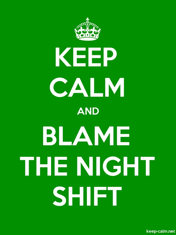 KEEP CALM AND BLAME THE NIGHT SHIFT - white/green - Default (600x800)