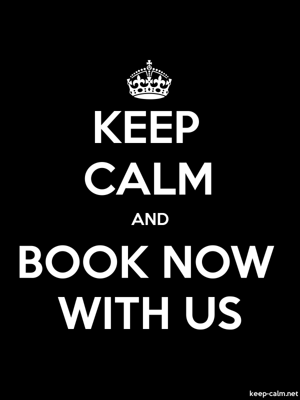 KEEP CALM AND BOOK NOW WITH US - white/black - Default (600x800)