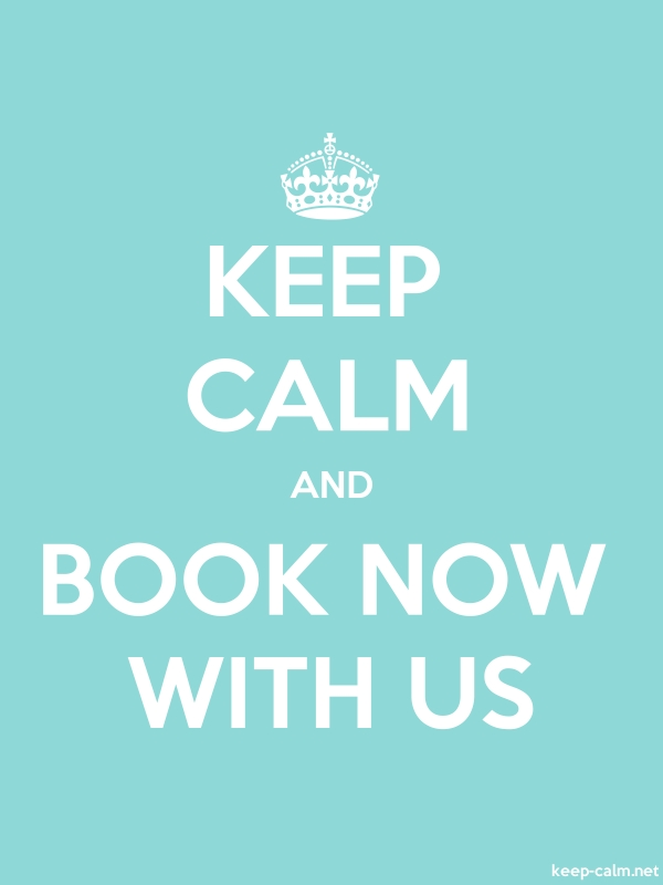 KEEP CALM AND BOOK NOW WITH US - white/lightblue - Default (600x800)